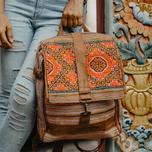 The Ginger Flap Embroidered Day Backpack