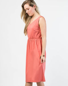 The Harper Tank Dress with Pockets in Coral