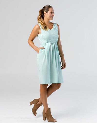 The Harper Tank Dress with Pockets in Turquoise