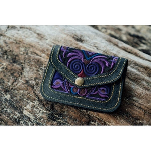 The Marigold Embroidered Black Mini Coin Purse - Various Colors