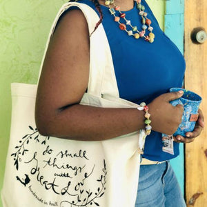 """Do Small Things with Great Love"" Cotton Canvas Reusable Shopping Tote Bag"