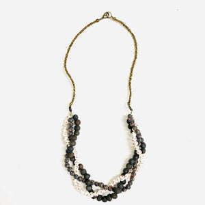Teah Twisted Ceramic Bead Necklace - Various Colors