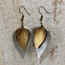 Load image into Gallery viewer, The Feuilles Double Leaf Leather Earrings - Silver & Gold
