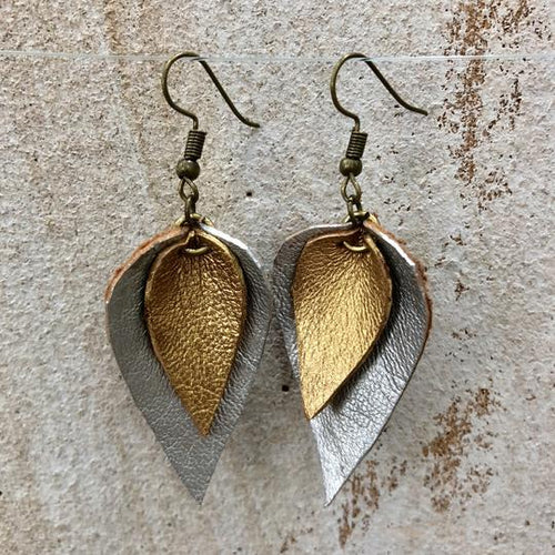 The Feuilles Double Leaf Leather Earrings - Silver & Gold