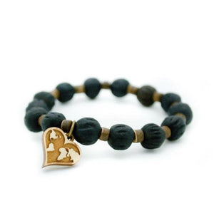 """Love Wins"" Black Bracelet with World Map Heart"