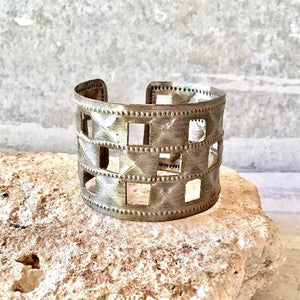 Steel Drum Checkerboard Cuff Bracelet