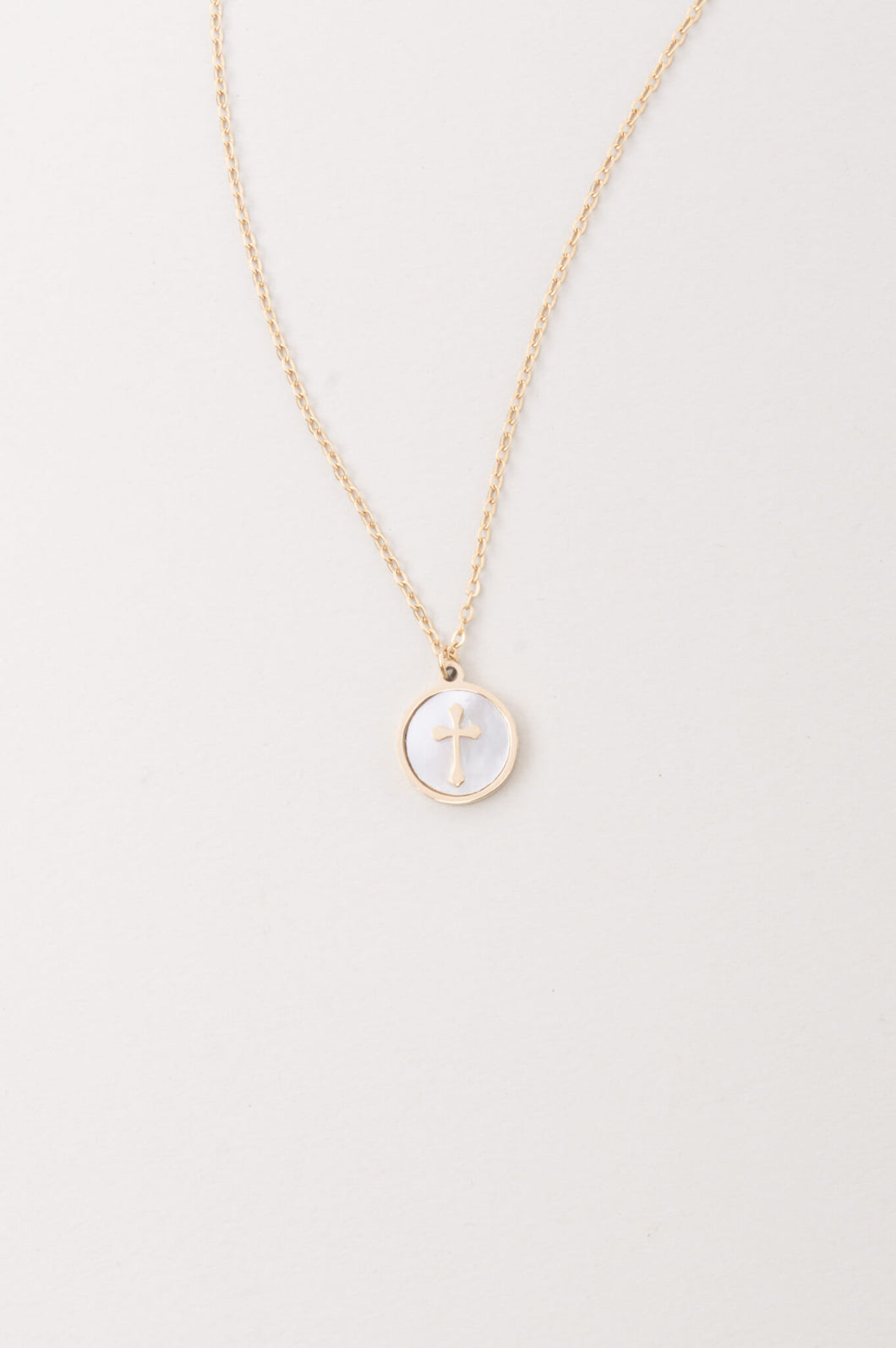 Joyce Mother-of-Pearl Cross Necklace