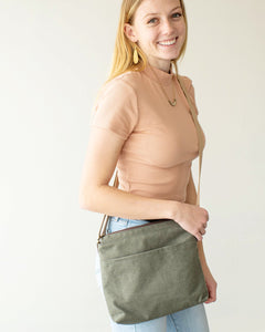 Julia Green Canvas Crossbody Bag