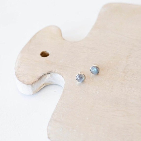 Labradorite Studs on Sterling Silver