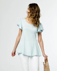 The Maeve Flutter Sleeve Top in Blue