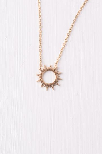 Mallory Gold Sun Pendant Necklace