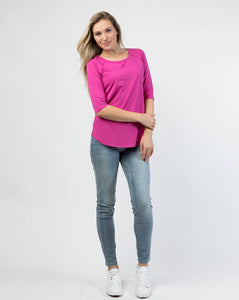 [Special Singles] Elbow Length Scoop Neck Pocket Tee in XS