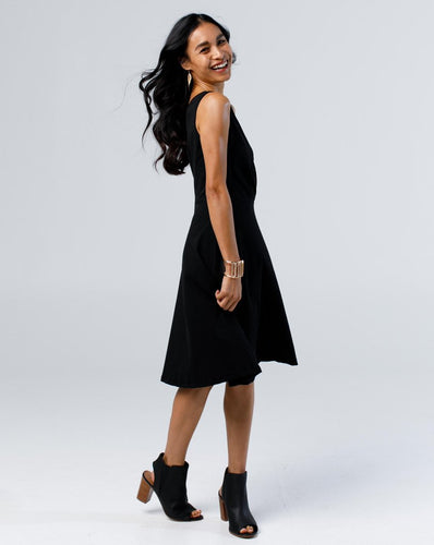 The Nora Faux-Wrap Dress in Black