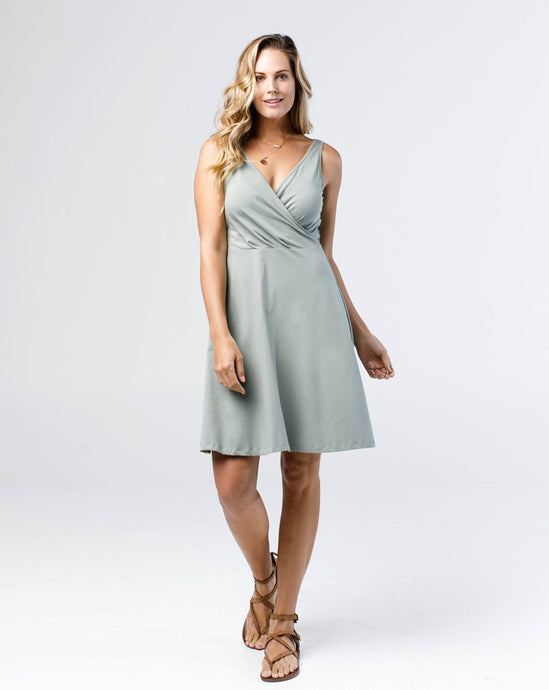 The Nora Faux-Wrap Dress in Thunder Gray