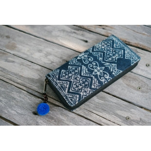 Blue Batik Zipper Wallet