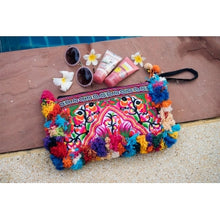 Load image into Gallery viewer, The Plumeria Pom Pom Clutch