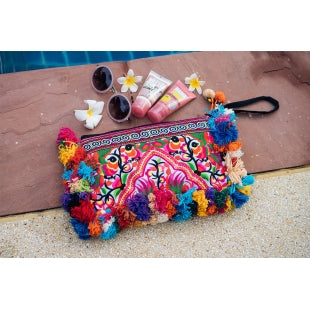 The Plumeria Pom Pom Clutch