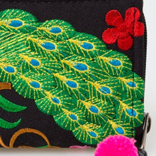 Load image into Gallery viewer, The Lotus & Peacock Embroidered Zipper Wallet