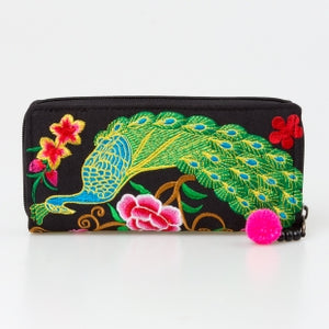 The Lotus & Peacock Embroidered Zipper Wallet