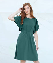 Load image into Gallery viewer, Daisy Dress with Flutter Sleeves in Pine