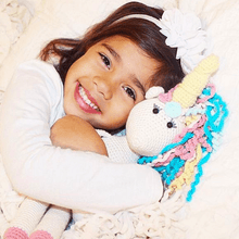 Load image into Gallery viewer, Rose the Unicorn Crocheted Organic Cotton Stuffed Animal