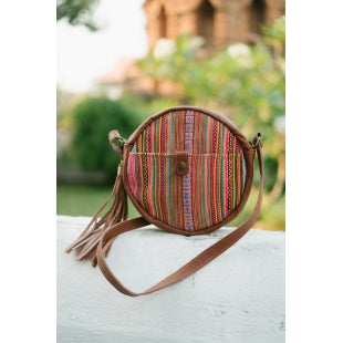 The Ginger Embroidered Round Leather Purse