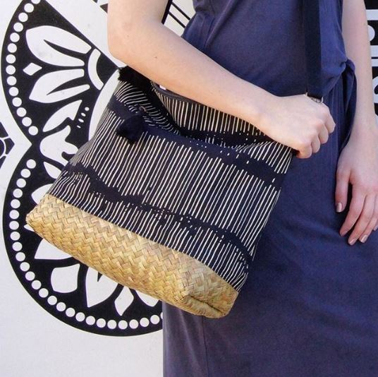 Large Seagrass & Canvas Crossbody Bag in Black