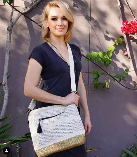 Large Seagrass & Canvas Crossbody Bag in White