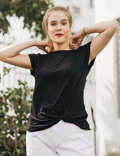 The Sita Twist Front Tee in Black