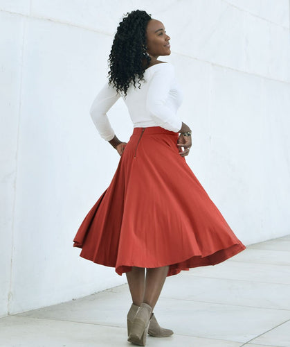 Malala Midi Skirt in Pumpkin Spice