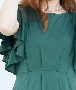 Daisy Dress with Flutter Sleeves in Pine