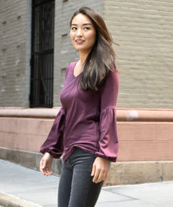 The Lucy Long Sleeve Top in Aubergine Purple