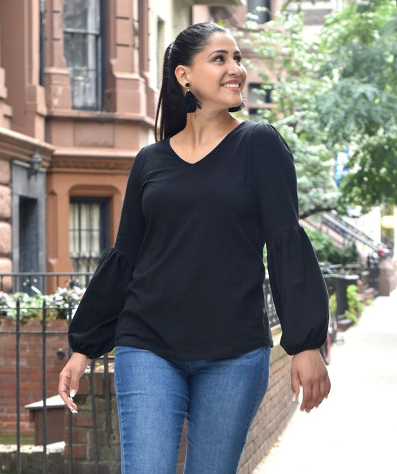 The Lucy Long Sleeve Top in Black