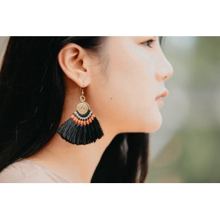 The Orchid Brass Tassel Earrings - Various Colors