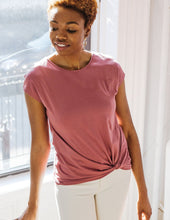 Load image into Gallery viewer, The Sita Twist Front Tee in Sunset Pink