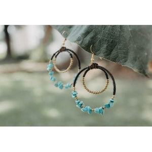 Stone Double Hoop Brass Earrings - Various Colors