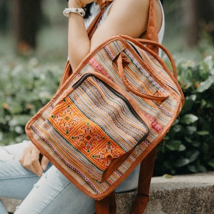 The Canna Convertible Embroidered Tote Backpack