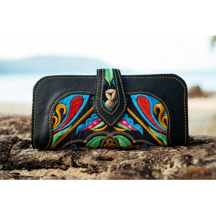 The Cosmos Embroidered Black Large Wallet Purse - Various Colors