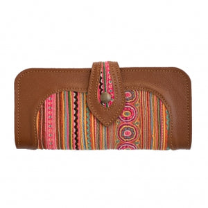 The Smiles Embroidered Brown Large Wallet Purse - Various Colors