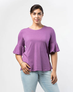 The Whitney Bell Sleeve Top in Grape