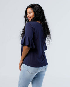 The Whitney Bell Sleeve Top in Navy