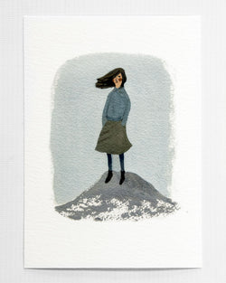 Girl on a Rock A5 Print