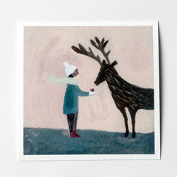 An Apple for Reindeer 6x6 print