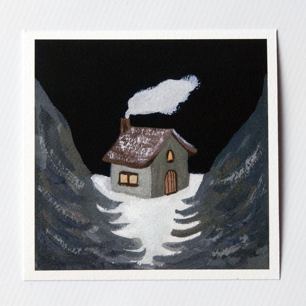 Winter House 6x6 print