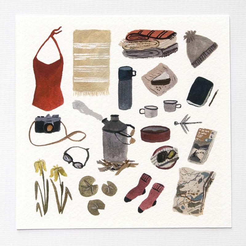 Wild Swimming Kit 6x6 Print