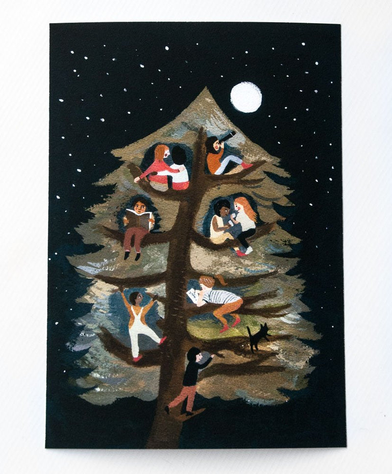Friends in a Tree A4 print with hanger