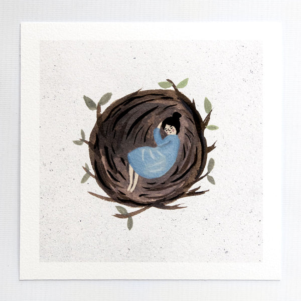 Asleep in a Nest 7x7 print