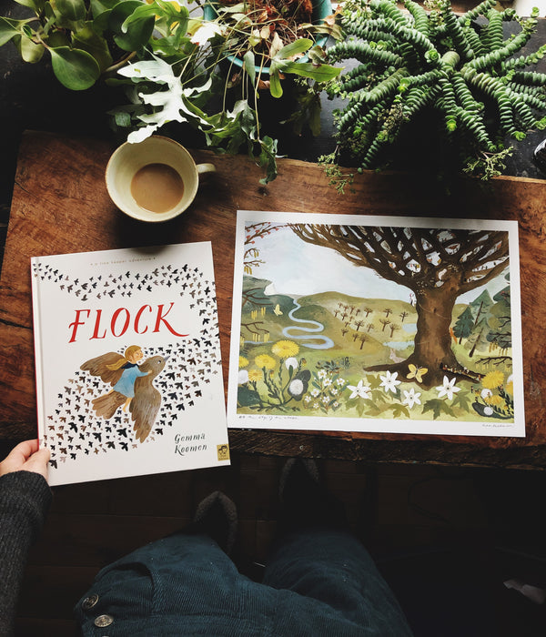 SIGNED HARDBACK COPY OF FLOCK WITH 30x40 ART PRINT
