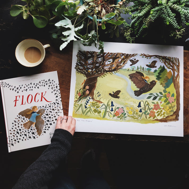 SIGNED HARDBACK COPY OF THE TREE KEEPERS - FLOCK WITH 40x50 ART PRINT