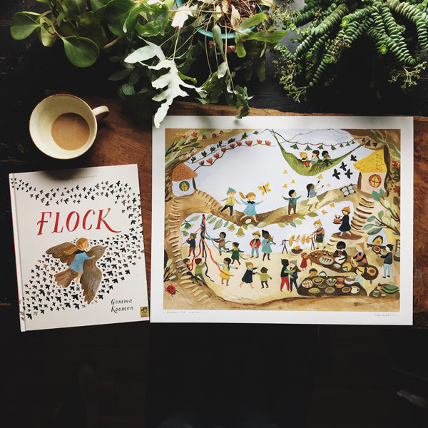 SIGNED HARDBACK COPY OF FLOCK WITH 40x50 ART PRINT